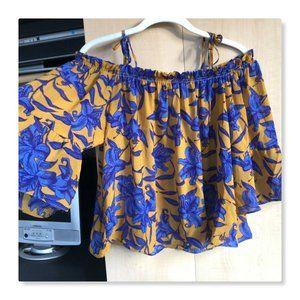 H&M Conscious Cold shoulder Floral Flowy Blouse